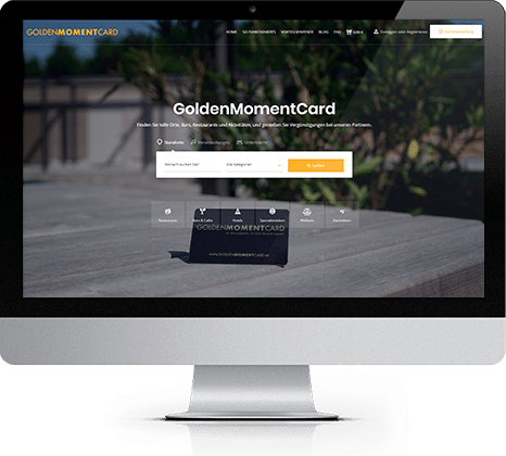 iMac with GoldenMomentCard website