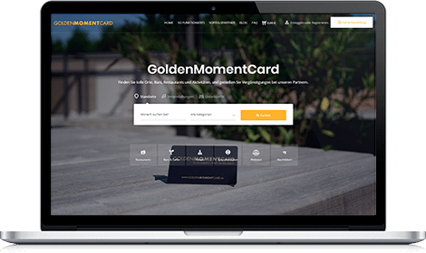 MacBook with GoldenMomentCard website
