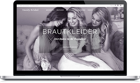 MacBook with Vanity Bridal website